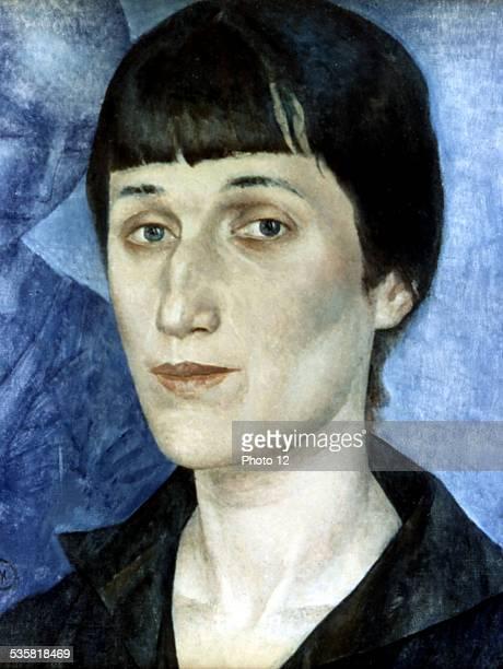 Petrov Vodkine portrait of writer Anna Akhmatova 20th century USSR Moscow Tretiakov gallery