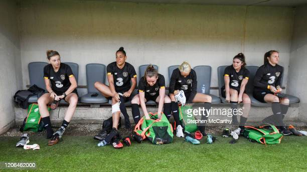 Petrovac Montenegro 10 March 2020 Players from left Hayley Nolan Rianna Jarrett Claire Walsh Stephanie Roche Jamie Finn and Kyra Carusa prepare for a...