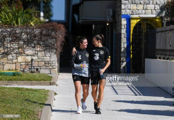 Petrovac Montenegro 10 March 2020 Republic of Ireland's Clare Shine and Katie McCabe during a walk in Petrovac Montenegro ahead of their side's UEFA...