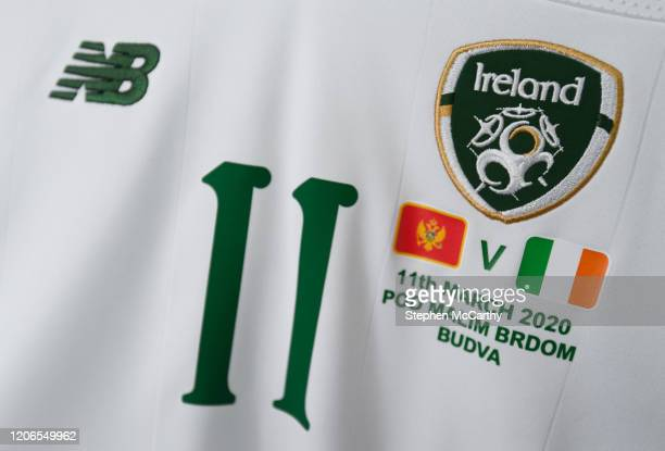 Petrovac Montenegro 11 March 2020 A detailed view of the jersey of Republic of Ireland captain Katie McCabe in the dressing room ahead of the UEFA...