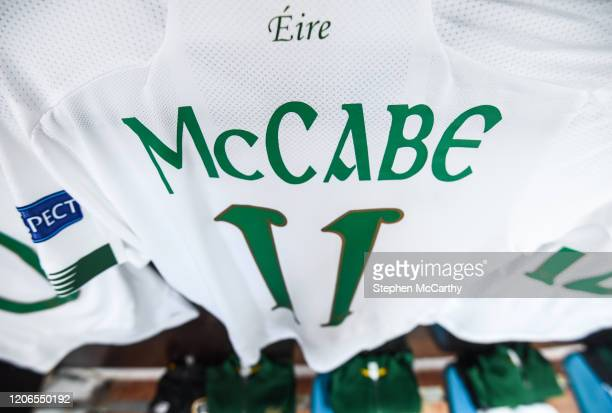 Petrovac Montenegro 11 March 2020 A detailed view of the jersey of Republic of Ireland captain Katie McCabe ahead of the UEFA Women's 2021 European...