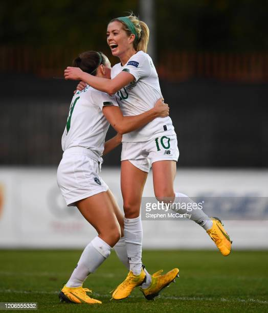 Petrovac Montenegro 11 March 2020 Denise O'Sullivan of Republic of Ireland celebrates after scoring her side's third goal with teammate Katie McCabe...