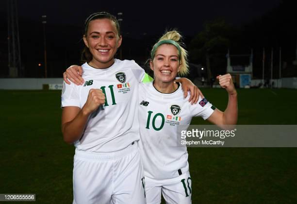 Petrovac Montenegro 11 March 2020 Katie McCabe left and Denise O'Sullivan of Republic of Ireland celebrate following the UEFA Women's 2021 European...