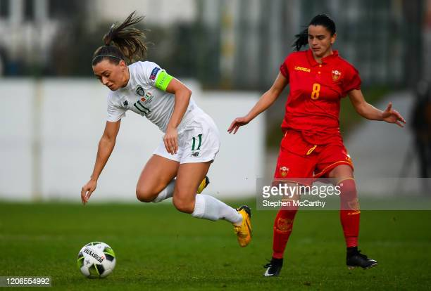 Petrovac Montenegro 11 March 2020 Katie McCabe of Republic of Ireland in action against Jasna Dokovic of Montenegro during the UEFA Women's 2021...