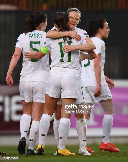 Petrovac Montenegro 11 March 2020 Katie McCabe of Republic of Ireland is congratulated by teammate Diane Caldwell after scoring her side's second...