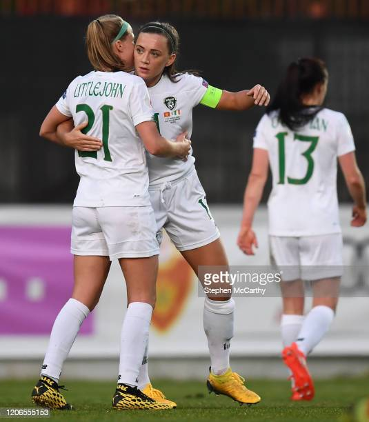 Petrovac Montenegro 11 March 2020 Katie McCabe of Republic of Ireland is congratulated by teammate Ruesha Littlejohn after scoring her side's second...