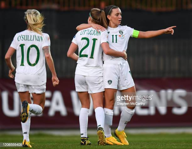Petrovac Montenegro 11 March 2020 Katie McCabe of Republic of Ireland celebrates with teammate Ruesha Littlejohn after scoring her side's second goal...
