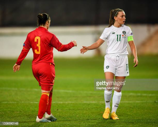 Petrovac Montenegro 11 March 2020 Katie McCabe of Republic of Ireland and Aleksandra Popovic of Montenegro acknowledge each other without touching...