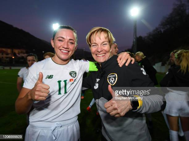 Petrovac Montenegro 11 March 2020 Republic of Ireland manager Vera Pauw right and Republic of Ireland captain Katie McCabe celebrate following the...