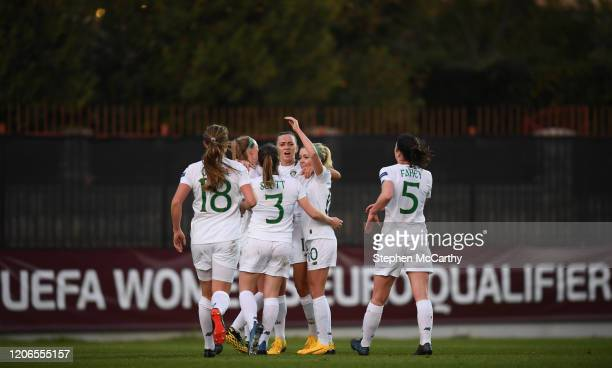 Petrovac Montenegro 11 March 2020 Republic of Ireland players celebrate after their side's second goal scored by Katie McCabe during the UEFA Women's...