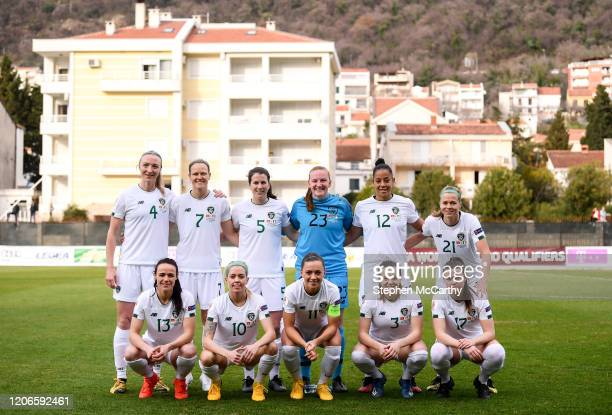 Petrovac Montenegro 11 March 2020 The Republic of Ireland team back row from left Louise Quinn Diane Caldwell Niamh Fahey Courtney Brosnan Rianna...