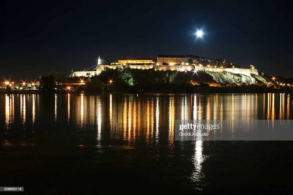 Petrovaradin fortress at night : Stock Photo