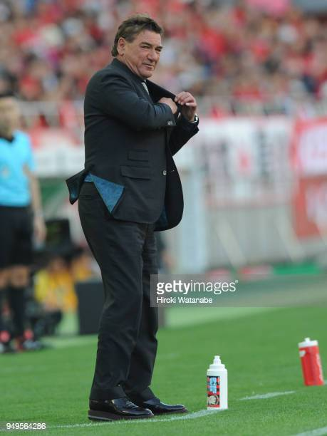 Petroviccoach of Consadole Sapporo gestures during the JLeague J1 match between Urawa Red Diamonds and Consadole Sapporo at Saitama Stadium on April...