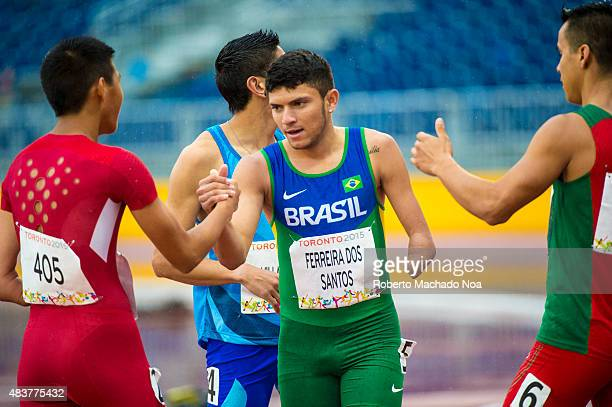 STADIUM TORONTO ONTARIO CANADA Petrucio Ferreira Dos Santos from Brazil sets a new Americas Record with 1077 in the Men's 100m T47 Final and wins the...