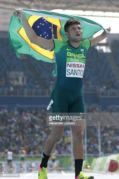 Petrucio Ferreira dos Santos of Brazil celebrates after the victory in the Men's100 meter T47 final at Olympic Stadium during day 4 of the Rio 2016...