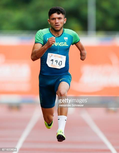 Petrucio Ferreira dos Santos of Brazil competes in the Men's 100 meters finals during day three of the 2017 Loterias Caixa Paralympics Athletics Open...