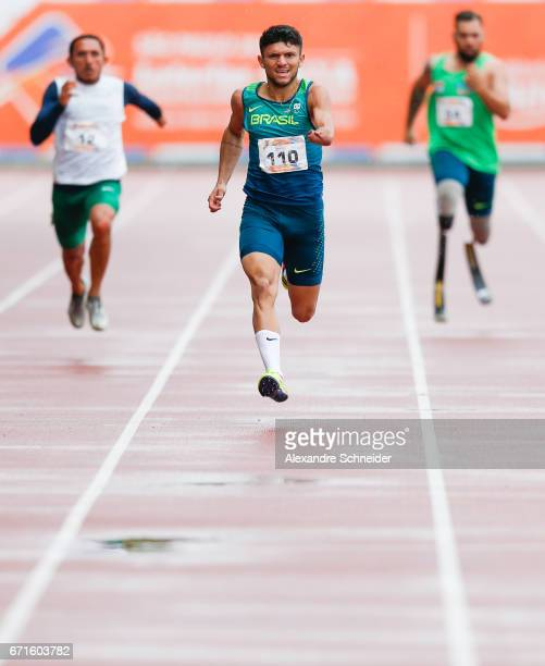 Petrucio Ferreira dos Santos of Brazil competes in the Men's 200 meters finals at Brazilian Paralympic Training Center during day two of the 2017...