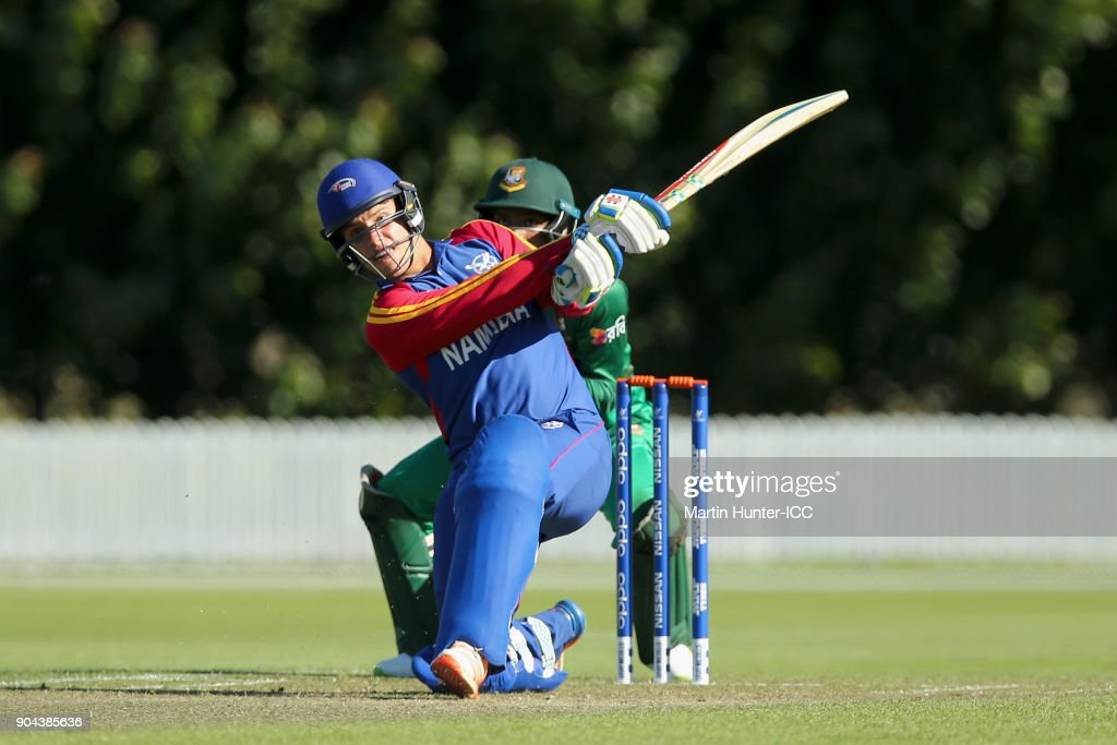 Petrus Burger of Namibia bats during the ICC U19 Cricket World Cup match between Bangladesh and Namibia at Bert Sutcliffe Oval on January 13, 2018 in Christchurch, New Zealand.