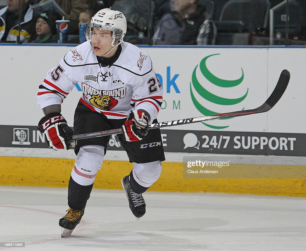 Petrus Palmu #25 of the Owen Sound Attack skates against the London Knights during an OHL game at Budweiser Gardens on March 13, 2015 in London, Ontario, Canada. The Knights defeated the Attack 3-2.
