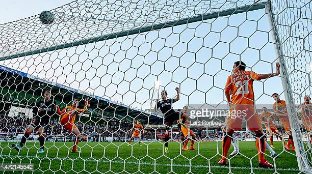Petter Andersson of FC Midtjylland scores the 10 goal during the Danish Alka Superliga match between FC Midtjylland and Randers FC at MCH Arena on...