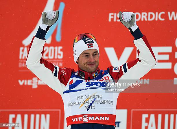 Petter Jr Northug of Norway celebrates winning the gold medal during the medal ceremony for the Men's 50km Mass Start CrossCountry during the FIS...