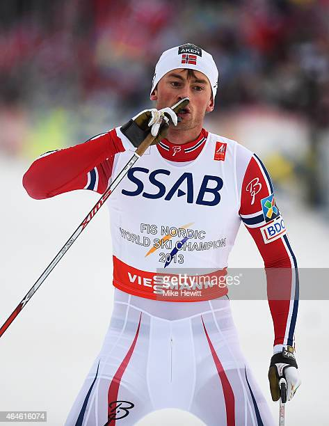 Petter Jr Northug of Norway celebrates winning the gold medal in the Men's 4 x 10km CrossCountry Relay during the FIS Nordic World Ski Championships...