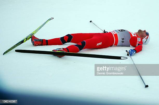 Petter Northug Jr of Norway lies on the ground after the FIS Tour de Ski Oberhof Men's Prolouge at DKB Ski Arena on December 29 2011 in Oberhof...