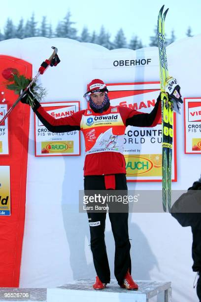 Petter Northug of Norway celebrates after winning the Men's 15km Pursuit of the FIS Tour De Ski on January 2 2010 in Oberhof Germany