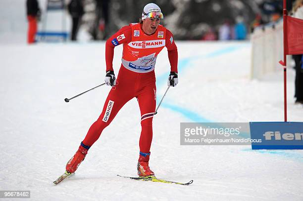 Petter Northug of Norway competes during the final climb men for the FIS Cross Country World Cup Tour de Ski on January 10 2010 in Val di Fiemme Italy