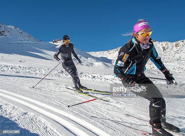 Petter Northug of Norway during private training session with team COOP with Ingvild Flugstad Oestberg of Norway on October 24 2015 in Val Senales...