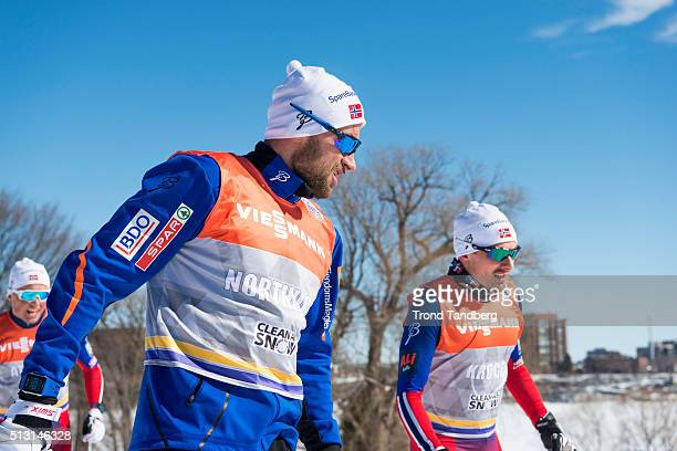 Petter Northug of Norway Finn Hagen Krogh of Norway during training Cross Country Sprint on February 29 2016 in GatineauQuebecCanada