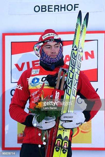 Petter Northug of Norway looks on after winning the Men's 15km Pursuit of the FIS Tour De Ski on January 2 2010 in Oberhof Germany