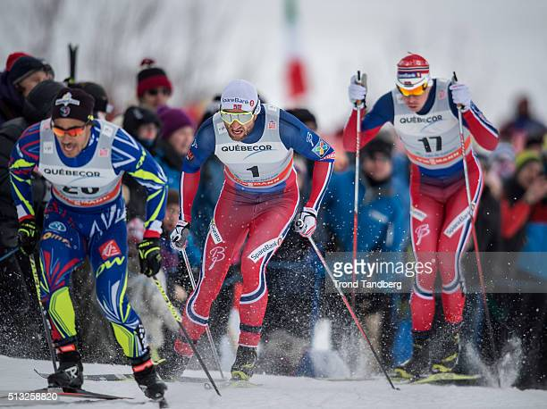 Petter Northug of Norway Ole Vigen Hattestad of Norway Richard Jouve of France during Cross Country Men 17 km Sprint Free on March 01 2016 in...