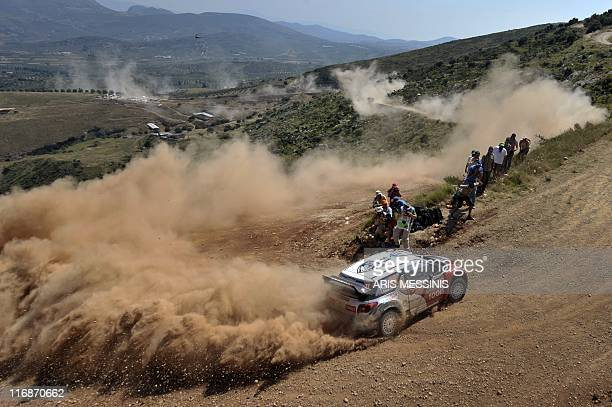 Petter Solberg and his copilot Chris Patterson compete in their Citroen DS3 WRC during the 2011 Acropolis rally in the Klenia Mycenae special stage...