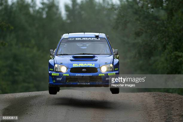 Petter Solberg and Philip Mills of Subaru compete during the first leg of the WRC 2005 Rally of Finland on August 5 2005 in Jyvaskyla Finland