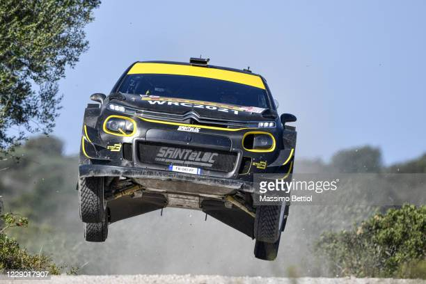 Petter Solberg of Norway and Andreas Mikkelsen of Norway compete with their Citroen C3 WRC Plus during Day Three of the WRC Italia Sardegna on...