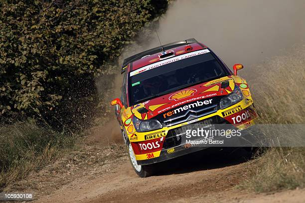 Petter Solberg of Norway and Chris Patterson of Great Britain compete in their Citron C4 during the Shakedown of the WRC Rally of Spain on October 21...