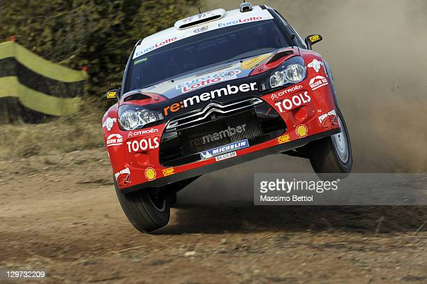 Petter Solberg of Norway and Chris Patterson of Great Britain compete in their Petter Solberg WRT Citroen DS3 WRC during the Shakedown of the WRC...