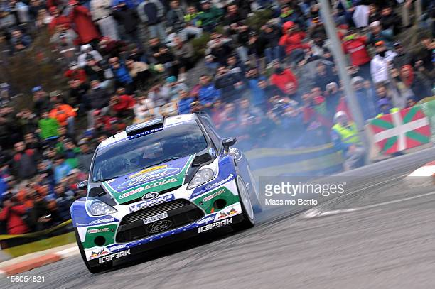 Petter Solberg of Norway and Chris Patterson of Great Britain compete in their Ford WRT Ford Fiesta RS WRC during Day Three of the WRC Spain on...