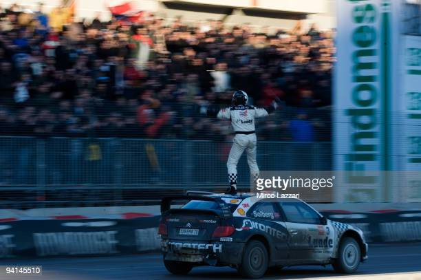 Petter Solberg of Norway and Citroen Xara WRC celebrates after the final for third place of the Findomestic Memorial Bettega during Bologna Motor...