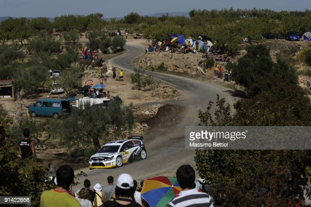 Petter Solberg of Norway and Phil Mills of Great Britain compete in their Citroen C 4 during Leg 3 of the WRC Rally de Espana on October 04 in Salou...