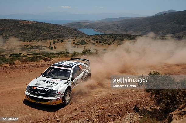 Petter Solberg of Norway and Phil Mills of Great Britain in action in the Citroen Xsara during Leg 1 of the WRC Acropolis Rally of Greece on June 12...