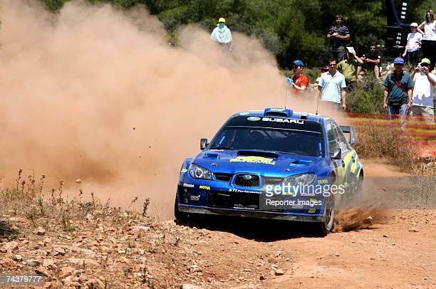 Petter Solberg of Norway and Philip Mills of Great Britain drive their Subaru Impreza WRC 2006 A/8 during the second leg of the BP Ultimate Acropolis...