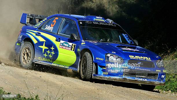 Petter Solberg of Norway powers his Subaru through a special stage near Raglan on the way to third place in the 2005 Rally of New Zealand in their...