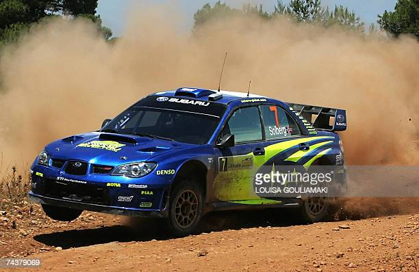 Petter Solberg of Norway with his British codriver Phillip Mills drive their Subaru Impreza WRC at a special stage of the leg 2 of the WRC Acropolis...