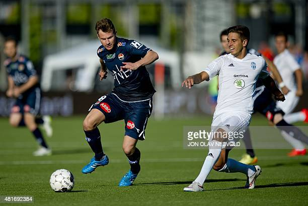 Petter Vaagan Moen of Stromsgodset in action against a player of Mlada Boleslav during the UEFA Europa League second qualifying round second leg...