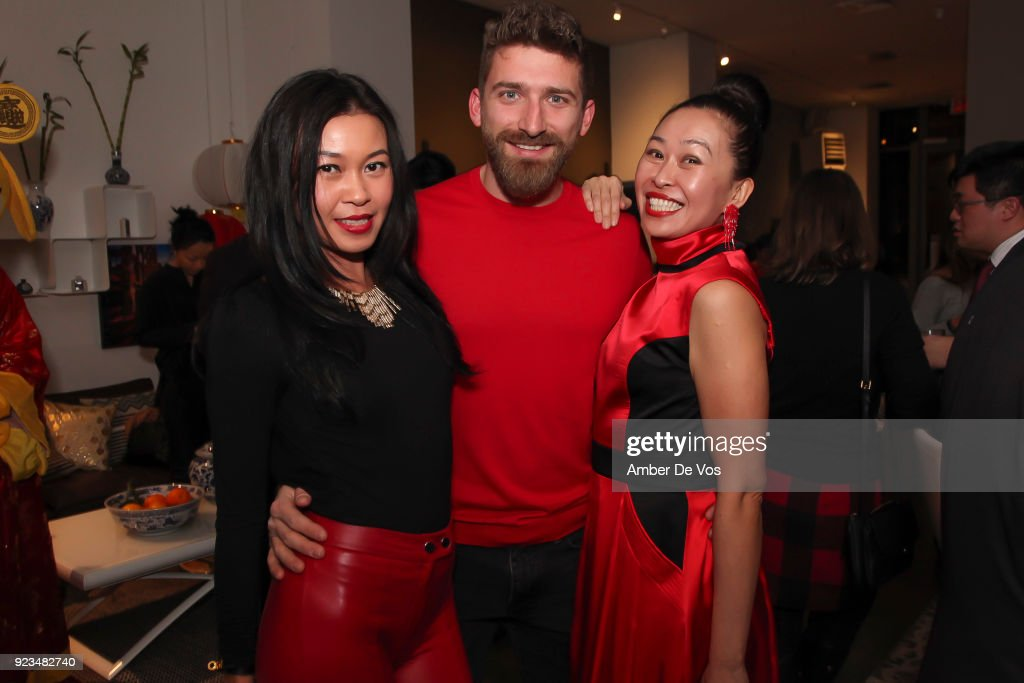 Pettie Chong, Tony Balla and Niki Cheng attend New York Chinese New Year Celebration at Calligaris SoHo on February 13, 2018 in New York City.