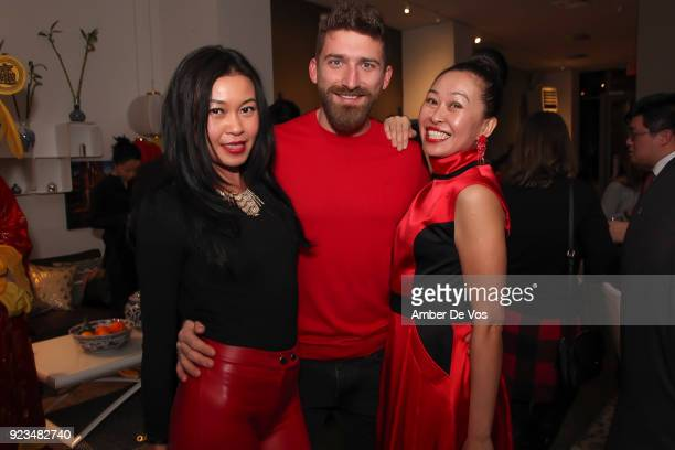 Pettie Chong Tony Balla and Niki Cheng attend New York Chinese New Year Celebration at Calligaris SoHo on February 13 2018 in New York City