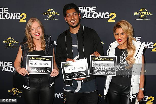 Pettifleur Berenger and son Nathan Berenger arrive ahead of the Ride Along 2 Australian Premiere at Hoyts Melbourne Central on February 10, 2016 in...