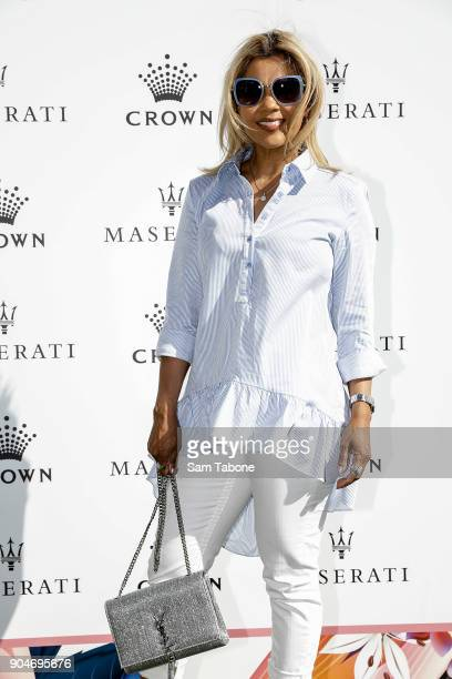 Pettifleur Berringer arrives ahead of the 2018 Crown IMG Tennis Player at Crown Palladium on January 14 2018 in Melbourne Australia